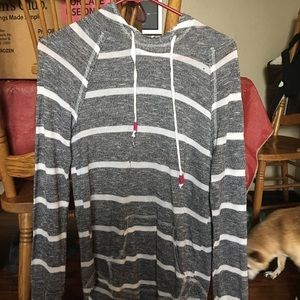 Ladies Grey and White Striped Hoodie